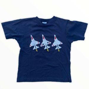 Vtg Kellys Kids Fighter Jet Tee Boys L